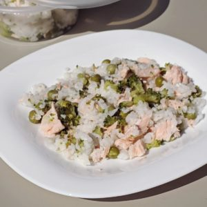 Salmon Pea Coconut Rice
